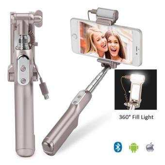 Harga Selfie Stick,Bluetooth Selfie Stick with 360 Degree Led Fill Light and Mirror, for iPhones, Samsung Galaxy s7 edge/s4 Android System Phones - intl