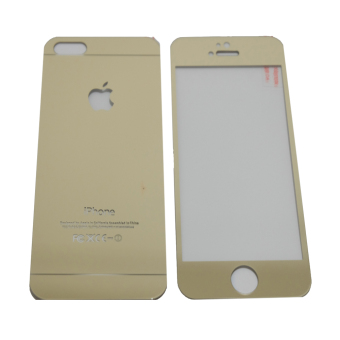 Harga Tempered Glass 2in1 Mirror Glossy For Apple iPhone 5/ Iphone5/ iPhone 5G/ 5S/ 5SE Anti Gores Kaca / Screen Guard - Gold