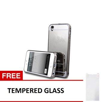 Case Vivo Y15 Alumunium Bumper With Mirror Backdoor Slide - Hitam + Gratis Tempered Glass,