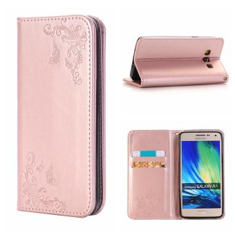 RUILEAN Leather Case For Samsung Galaxy A5 2015 Flower Skin Flip Wallet Pouch Stand Cover Rose