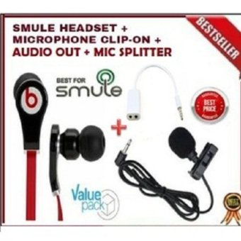 Harga Mellius Paket Smule Clip on Mic + Headset + Splitter Audio & Mic