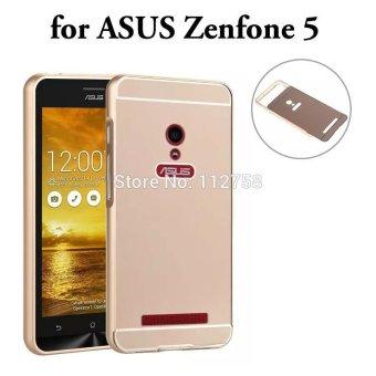 Case Aluminium Bumper Mirror For Asus Zenfone 5 Rose Gold Gratis Tempered Glass .