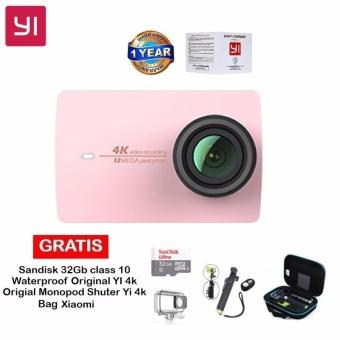 Harga Xiaomi Yi II 4k Internasional Version Wifi - Rosegold+ Sandisk 32GB +Original Waterproof Xiaomi YI 4k +Original Monopod+ Bag