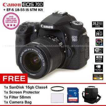 Harga CANON EOS 70D (WiFi) + EF-S 18-55 IS STM Kit 20.0MP 7.0FPS 19Point AF Full HD + Filter 58mm + SanDisk 16Gb + Screen Protector + Camera Bag