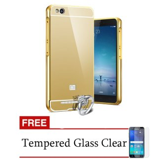 Case Aluminium Bumper Mirror for Xiaomi Redmi 3 - Gold + Free Temperd Glass