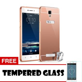 Case Oppo Neo 3 R831K Bumper Mirror Slide - Rose gold + Tempered Glass