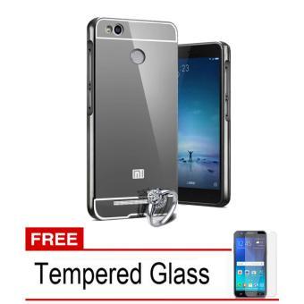 X Case Mirror Aluminium Bumper For Xiaomi Redmi 3 PRO Free Tempered Glass - Black .