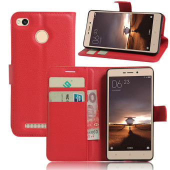 Harga Wallet Flip Leather Case For Xiaomi Redmi 3S/Xiaomi Redmi 3 Pro (Red) - intl