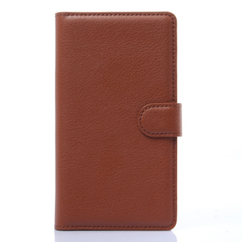 Harga PopSky Wallet Case Cover for Lenovo S860 (Brown)