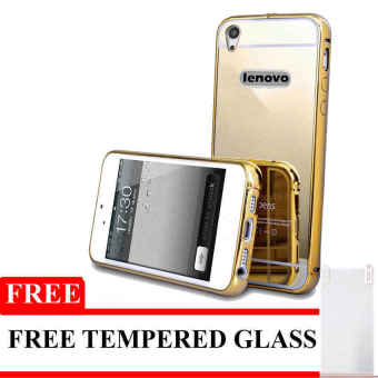 Harga Case For Lenovo A6000 / A6010 Bumper Chrome With Backcase Mirror - Gold + Free Tempered Glass