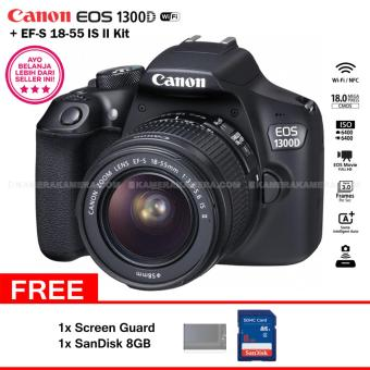Harga Canon EOS 1300D (Wi-Fi) EF-S 18-55mm IS II + Screen Guard + SanDisk 8GB