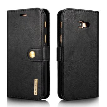 Harga Retro Real Genuine Leather Case for Samsung Galaxy J5 2017 Cases Luxury Stand Magnetic Flip Phone Cover Case (Black) - intl