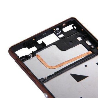 IPartsBuy For Sony Xperia Z3 Single SIM Front Housing LCD Frame Bezel Brown .