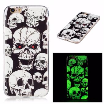 Harga Skull ghost head Noctilucent TPU Soft Gasbag Back Case Cover For iPhone 6 Plus/6S Plus 5.5 inch Case - intl