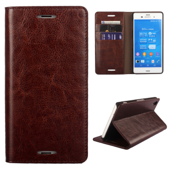 Moonmini PU Leather Case Flip Stand Cover for Sony Xperia Z3 (Coffee) ...