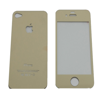Harga Tempered Glass 2in1 Mirror Glossy For Apple iPhone 4/ Iphone4/iPhone 4G/ Iphone 4S - Gold