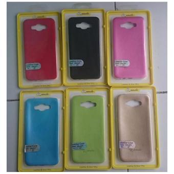 Galeri Gambar Smile Case Slim TPU With Leather Untuk Samsung Galaxy E5 - Hitam - Buy