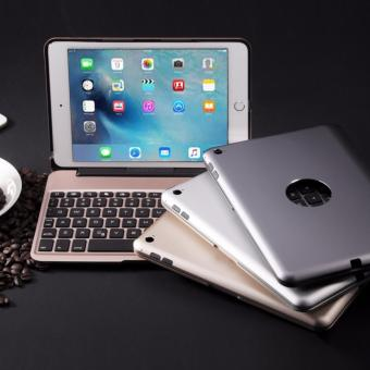 Slim Aluminum Bluetooth Keyboard 7-color Backlit with Protective Clamshell Case Cover .