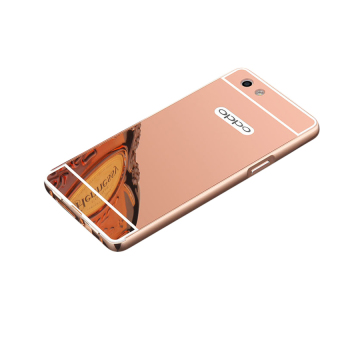 Case Bumper Oppo F1s Selfie Expert Aluminium Mirror With SlidingBackcase Hardcase Casing Hp-Rose Gold