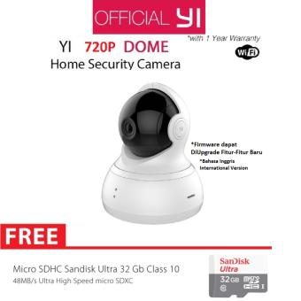 Harga Xiaomi Yi Dome Home Camera 360 CCTV International Version + Micro SD Sandisk 32GB Class 10 - Putih