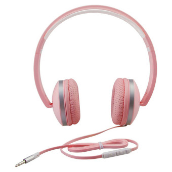 Harga Stereo Lightweight Foldable Headphones Adjustable Headband Headsets with Microphone and volume control 3.5mm for Cellphones Smartphones Iphone Laptop Computer Mp3/4 Earphones(pink)