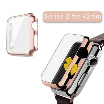 Harga Apple Watch Series 2 Case 42mm,Full Cover Apple Watch Series 2/Nike Case Slim Hard PC Plated Protective Bumper Cover & 0.2mm Shockproof Sheld Guard Screen Protector for iWatch 2016 - intl