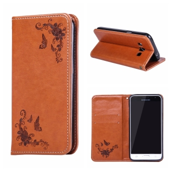 RUILEAN Leather Case For Samsung Galaxy J3 Pro Flower Skin Flip Wallet Pouch Stand Cover Brown - intl ...