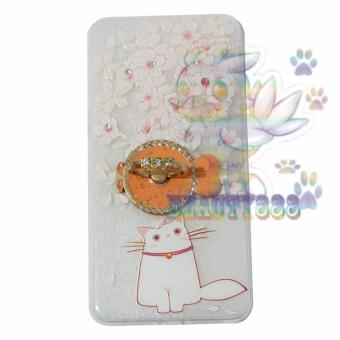 Beauty Case For Oppo A37 Softshell Swarovski Animasi Cat Cute With Flowers + Holder Ring Fish