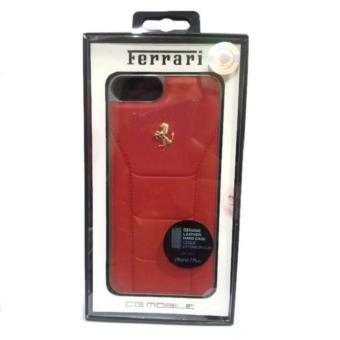 Ferrari Gold Debossed Genuine Leather Hard Case iPhone 7 Plus - Merah -