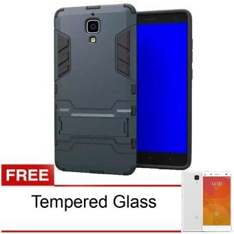 Case Xiaomi Mi4 Kickstand Series - Hitam + Gratis Tempered Glass