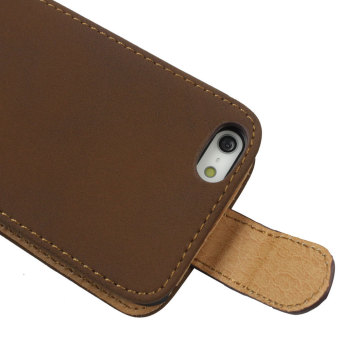 Leegoal coklat Retro dak dik duk bersandal kulit sintetis penutup Case untuk Apple iPhone 5C - International - 2