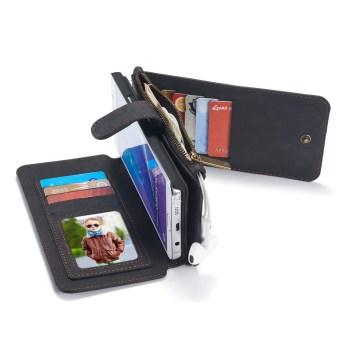 Kasus yang dapat dilepas kulit kualitas unggul dengan dompet dan telepon untuk sampul .