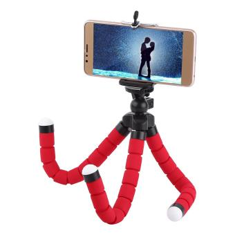 Harga Mini Octopus Flexible Tripod Stand Bracket Holder With Phone Clip For Cellphone (Red) - intl
