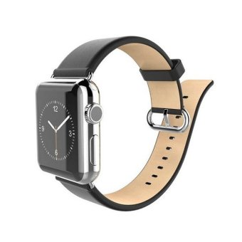 Harga Bluesky Apple Watch Strap, Genuine Leather Apple Watch Band with Adapter, Luxury Apple iWatch Wristband with Stainless Steel Buckle Replacement Strap for Apple Watch 38mm Black (Intl)