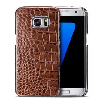 Harga OATSBASF Crocodile Genuine Leather Skin Hard Shell for Samsung Galaxy S7 edge G935 - Brown