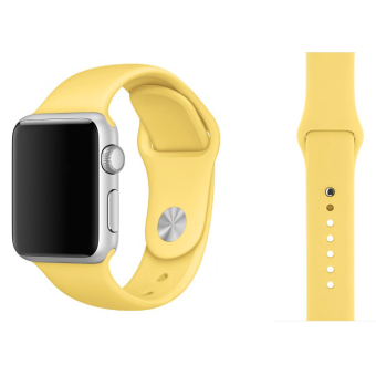 Harga Soft Silicone Watch Band Strap With Connector Adapter For Apple Watch iWatch 42mm (Yellow)