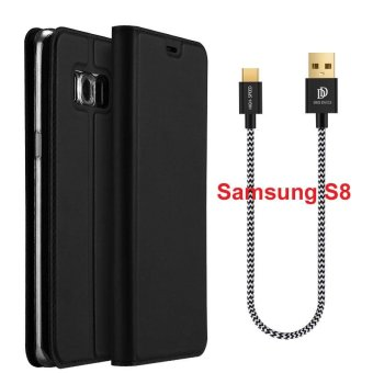 Harga New Crashproof Flip Leather Magnet Phone Case Cable & Cover 2PCS for Samsung S8