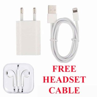 Harga MidleUp Apple Original Charger iPhone 5/5C/5S + Cable Data - Putih free Apple Original Headset iPhone 5/5C/5S - Putih