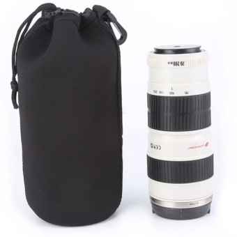 Harga Extra Large Neoprene Pouch Bag for Canon / Nikon / Pentax / Sony / Olympus / Panasonic DSLR Camera Lens - Size XL (Black)