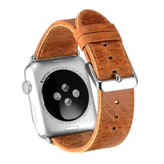 Harga OATSBASF Top Layer Cowhide Leather Watch Band for Apple Watch Series 1 Series 2 38mm - Light Brown - intl