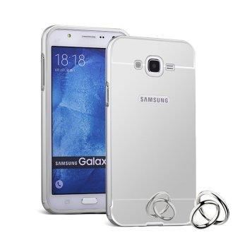 Case Mirror Aluminium Bumper with slidding For Samsung Galaxy J5 Silver Gratis Tempered .
