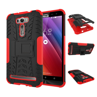 "Harga For ASUS ZenFone 2 Laser Case ZE601KL (6.0"") Case Heavy Duty Rugged Hybrid Dual Layer Kickstand Shockproof Protective Case Cover for ZenFone 2 Laser (6.0 inch) (Red)"