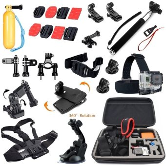 Harga Accessories Set Kit Chest Head Belt Strap Hand strap Floating Handle Grip 360 Rotary Quick Clip 3-way Adjustment Base small Octopus Tripod Stand Wrench Spanner Screw Tool Helmet strap Extension Arm for Go pro Hero4