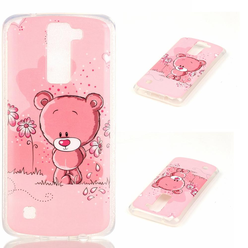 IMD TPU Gel Case for LG K8 - Bear and Flower - intl .