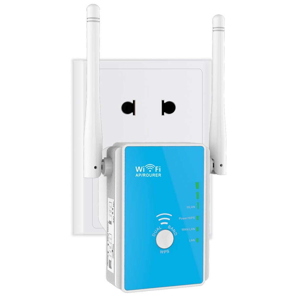 ... Jangkauan Wifi extender 300Mbps Wireless pengulang penguat sinyal Router ganda Band dengan 2 antena eksternal 360 ...
