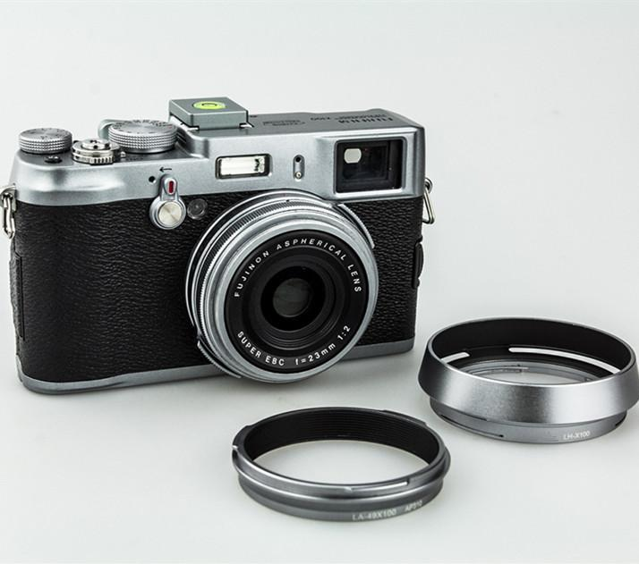 ... JJC 49MM LH-X100 Lens Hood and LA-49X100 Silver Metal Lens HoodAdapter Ring ...