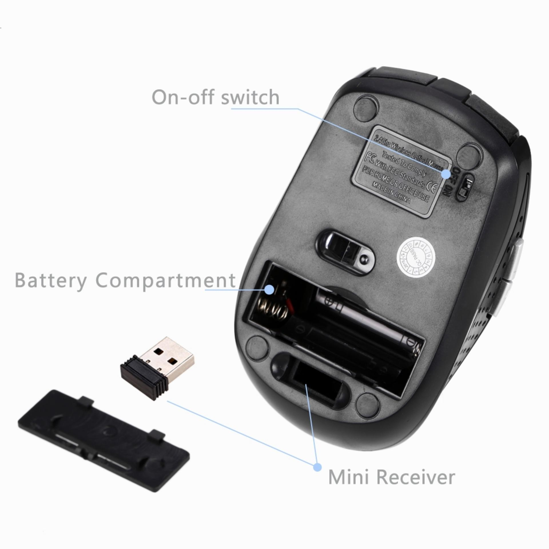 In 2.4 gHz Wireless USB mouse optik nirkabel untuk laptop PCKomputer + USB receiver ...