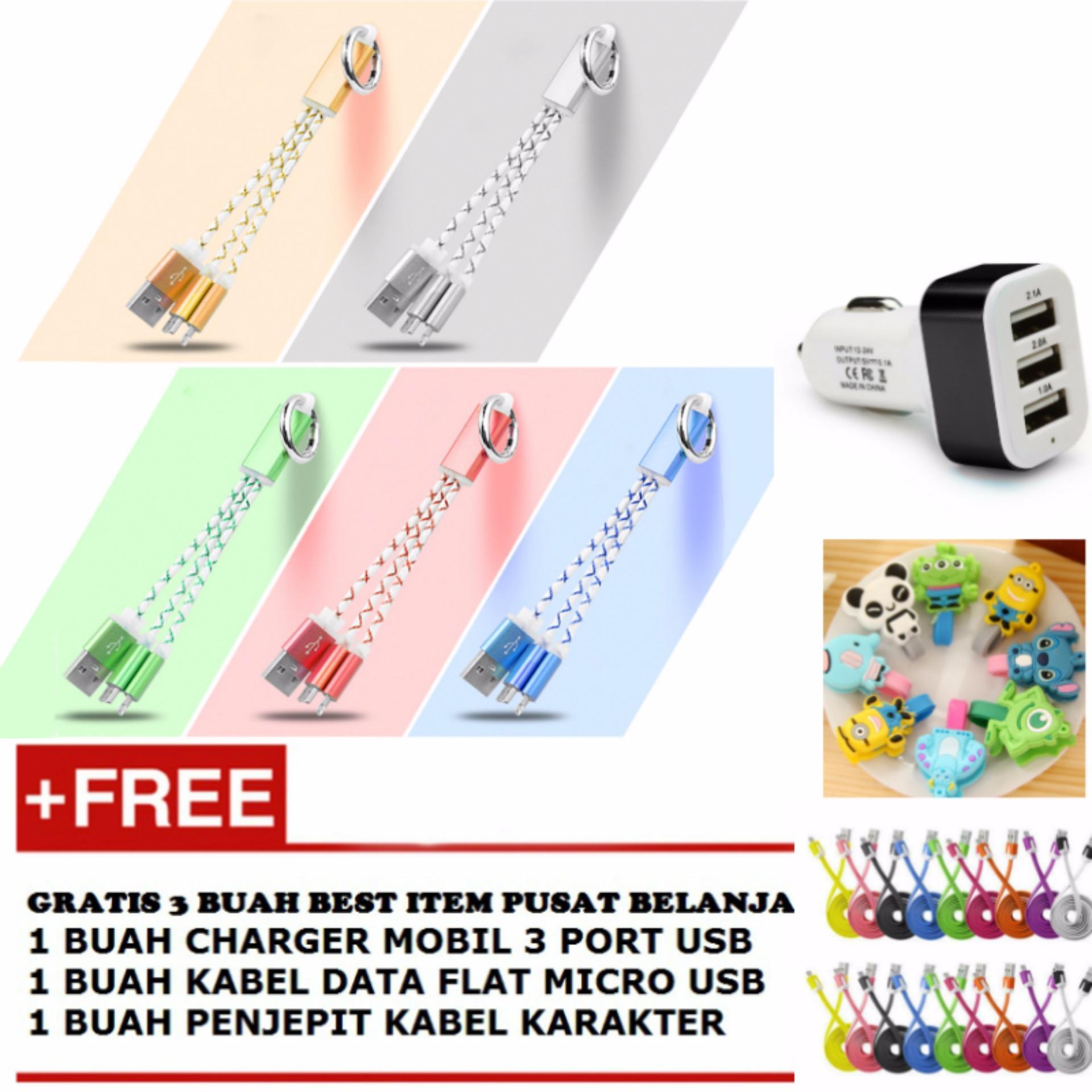 ... Kabel Data 2 in 1 15 cm - Multicolour + Gratis 1 Buah Charger Mobil3 Port ...