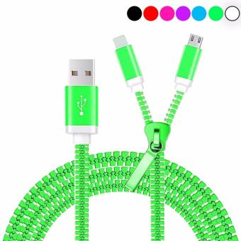 Kabel Data Mikro Usb Model Zipper 2IN1 - Usb Mobile Phone Charging Cables For iPhone 7 6 5S plus ipad Charger ios 10 For Samsung Galaxy Android