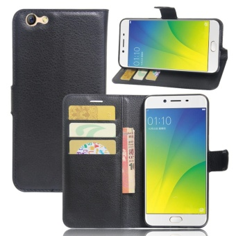 Leather Flip Cover Phone Case Wallet Card Holder For OPPO F3 (Black) - intl